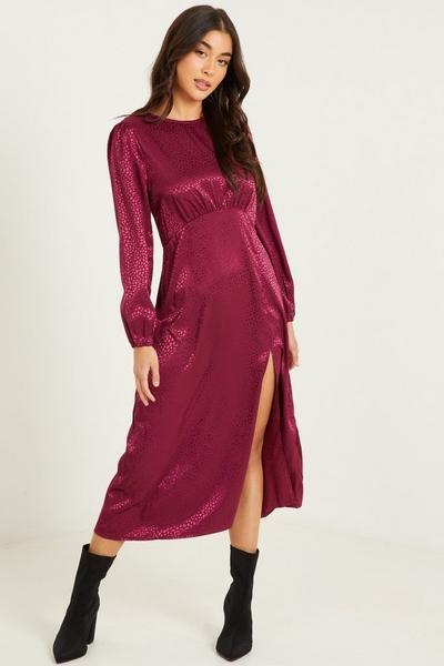 Plum Animal Print Midi Dress