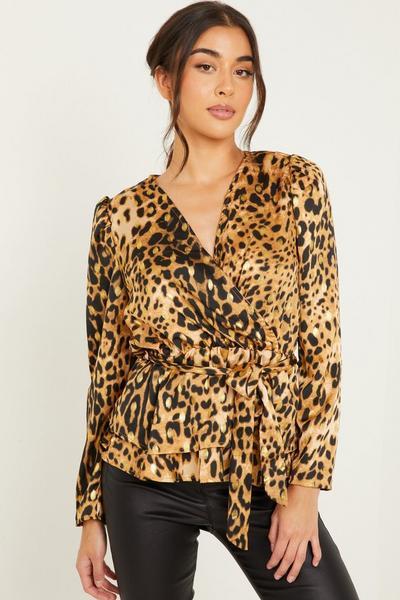 Brown Leopard Print Peplum Top