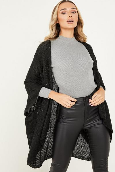 Black Knitted Sequin Cape