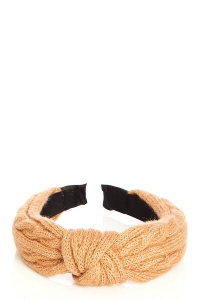 Tan Knitted Headband