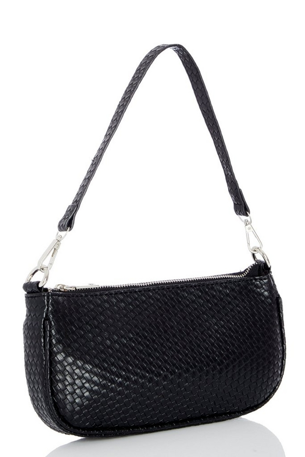 Black Faux Leather Woven Shoulder Bag