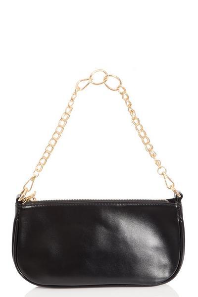 Black Faux Leather Chain Shoulder Bag