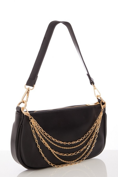 Black Faux Leather Layer Chain Bag