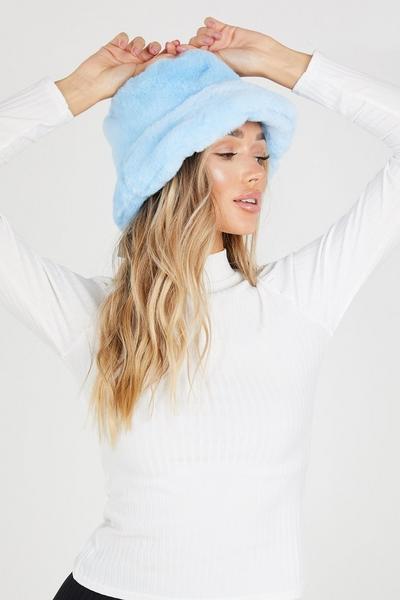 Blue Faux Fur Bucket Hat