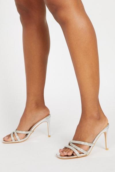 Silver Embellished Heeled Mule Sandals