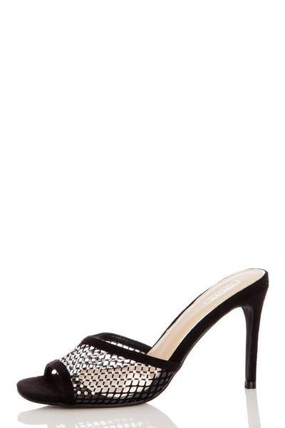 Black Diamante Heeled Mule Sandals