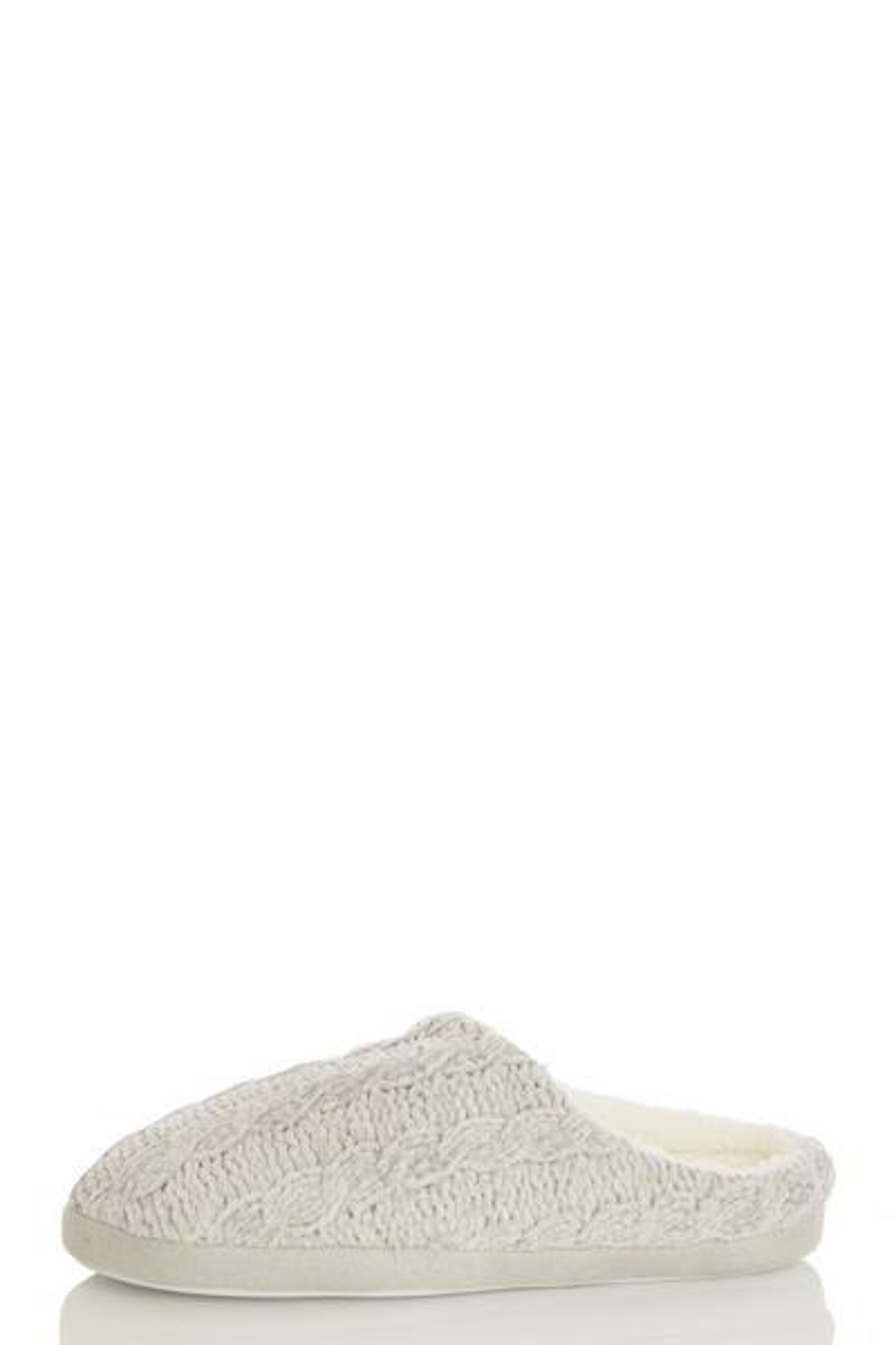 Grey Fleece Mule Slippers