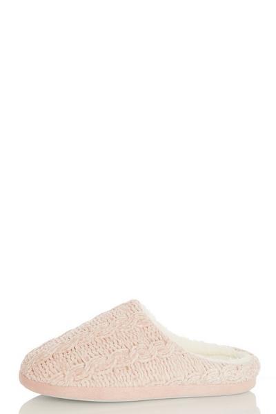 Pink Fleece Mule Slippers