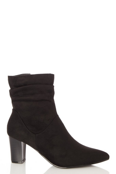 Black Faux Suede Ruched Ankle Boots