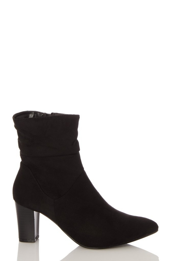 Wide Fit Black Faux Suede Ruched Ankle Boot
