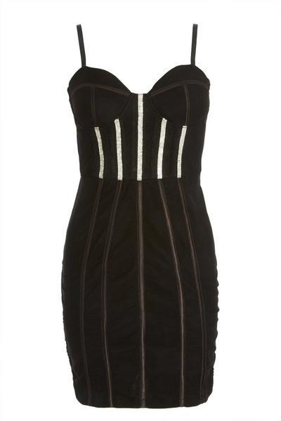 Black Embellished Mini Dress