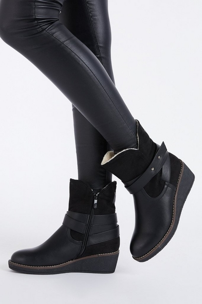 Black Faux Leather Wedge Ankle Boots