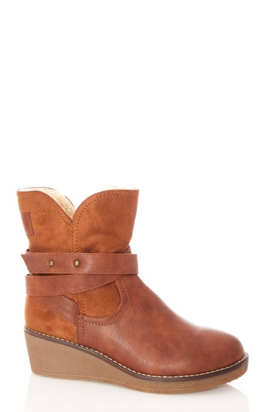 Tan Faux Leather Wedge Ankle Boots