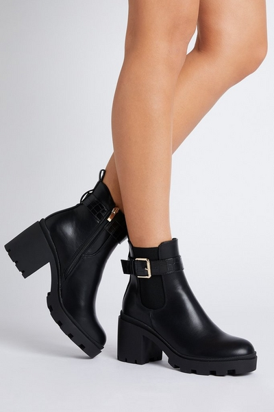 Black Faux Leather Heeled Ankle Boot