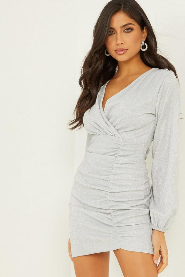 Vicky Pattison Silver Ruched Bodycon Dress