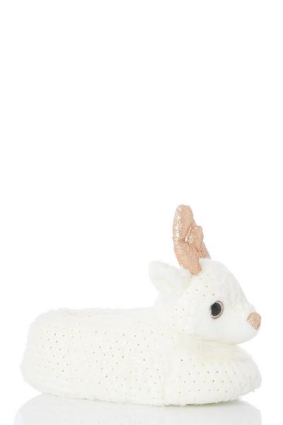 Cream Reindeer Slipper
