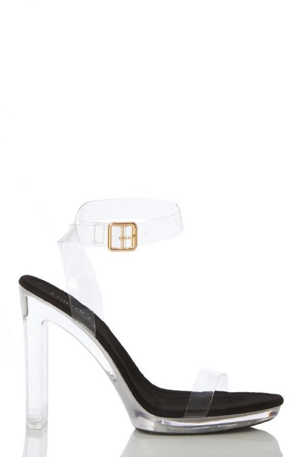 Black Clear Block Heeled Sandal