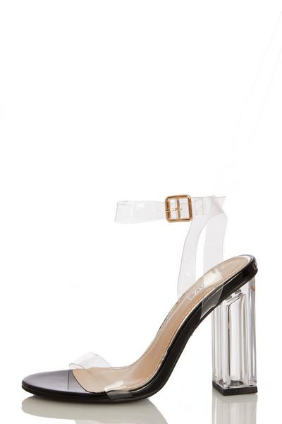 Black Clear Block Heeled Sandals