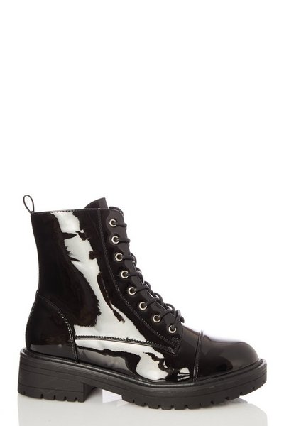 Black Patent Chunky Lace Up Boots