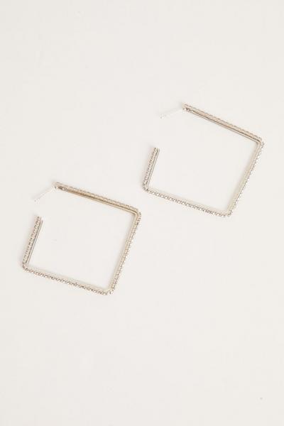 Silver Diamante Square Earrings