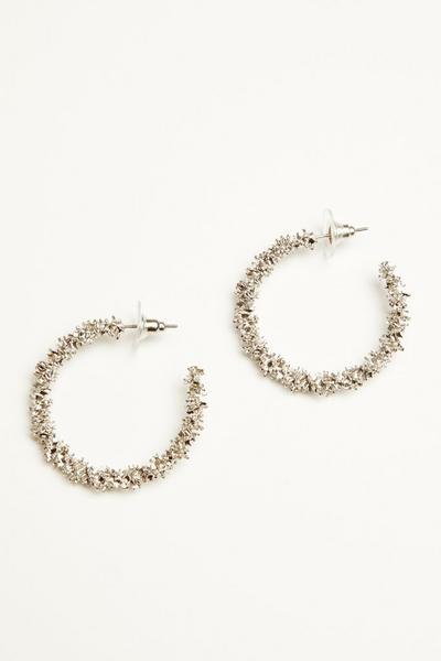 Silver Crushed Hoop Earrings