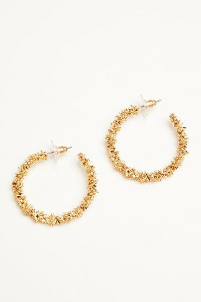 Gold Crushed Hoop Earrings
