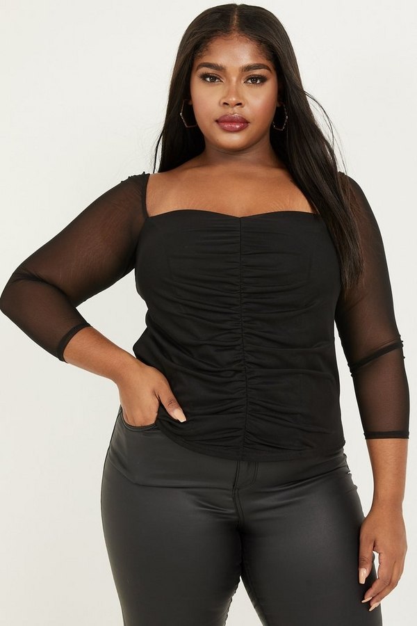 Curve Black Mesh Ruched Top