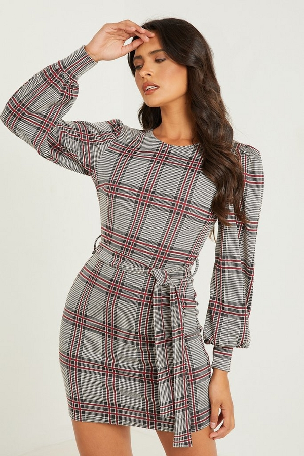 Berry Check Puff Sleeve Dress