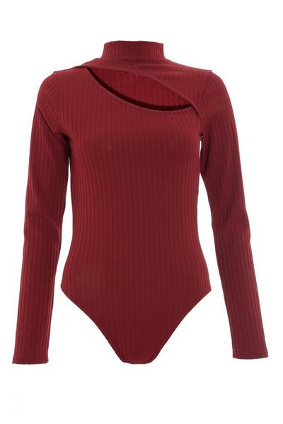 Berry Ribbed Cut Out Bodysuit
