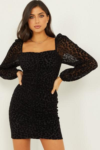 Black Velvet Animal Bodycon Dress