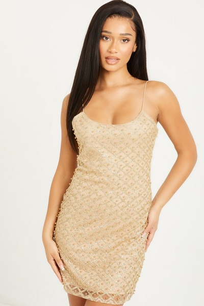 Gold Pearl Mini Dress