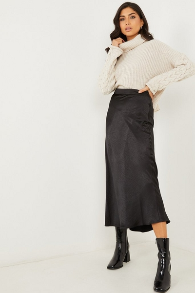 Black Satin Midi Skirt