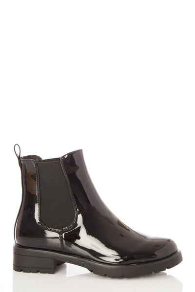 Black Patent Chelsea Ankle Boots