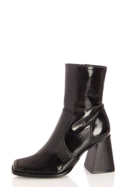 Black Patent Square Toe Ankle Boot