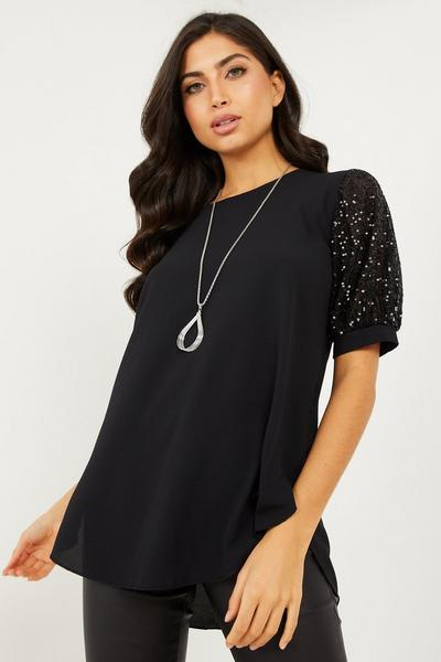 Black Sequin Sleeve Necklace Top