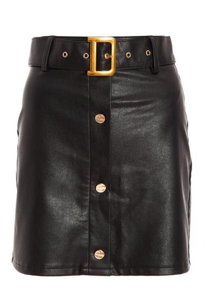 Black Faux Leather Bodycon Mini Skirt