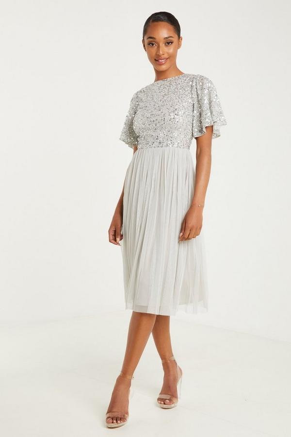 Grey Sequin Midi Dress