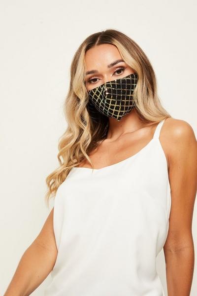 Black & Gold Sequin Fashion Face Mask