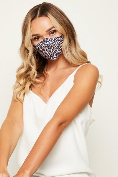 Navy & Pink Heart Print Fashion Face Mask