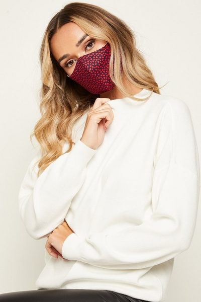 Red & Navy Heart Print Fashion Face Mask