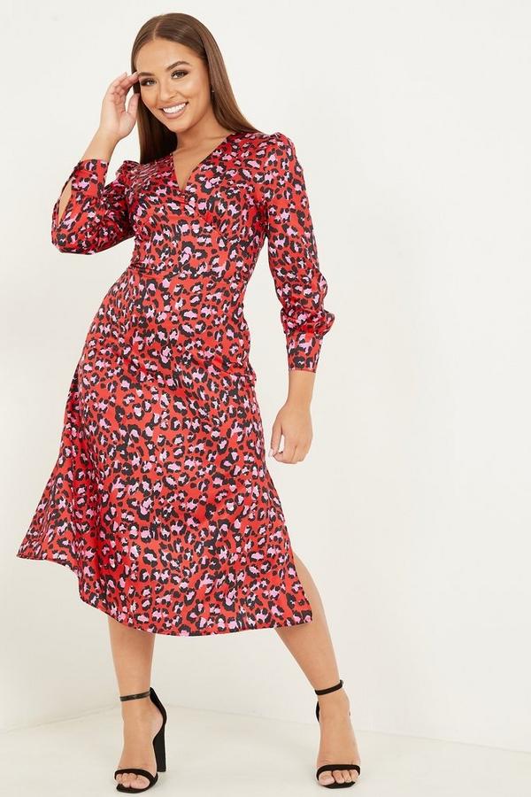 Petite Red Leopard Satin Midi Dress
