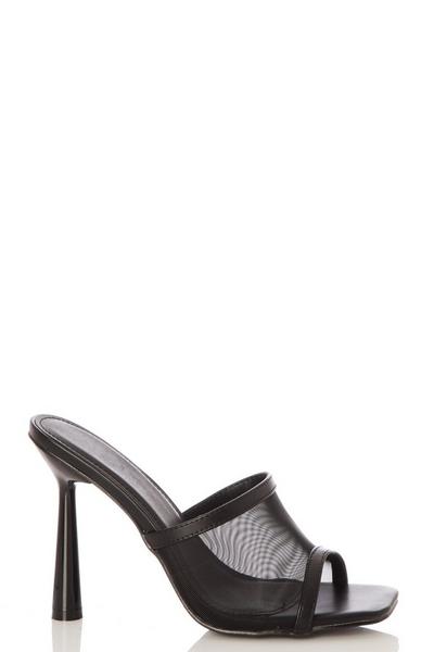 Black Mesh Mule Heel Sandals