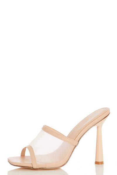 Nude Mesh Mule Heel Sandals
