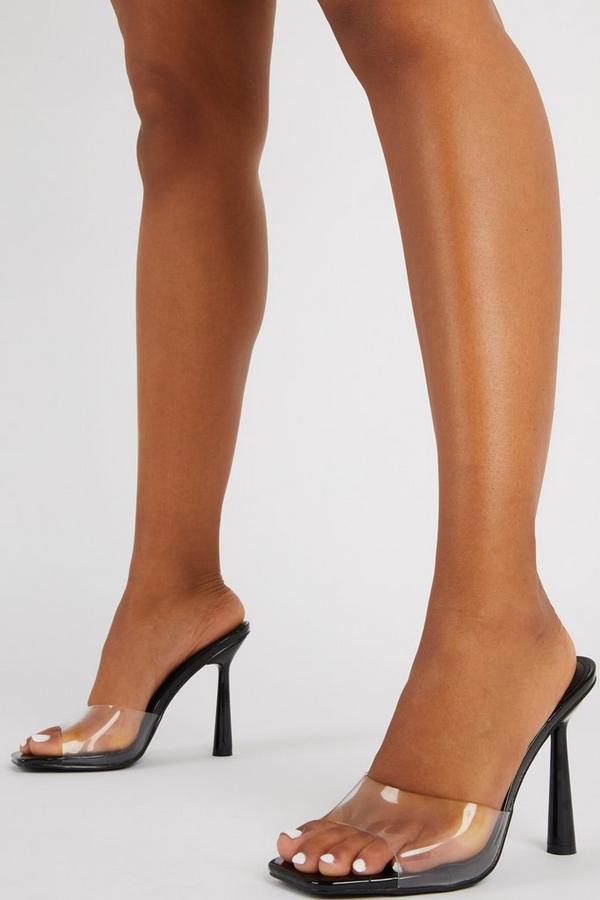 Black Clear Mule Heel Sandals