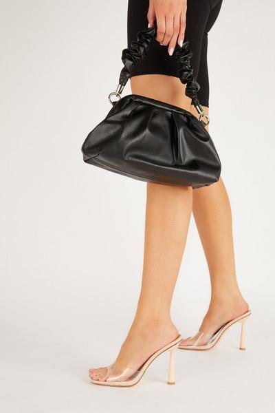 Nude Clear Mule Heel Sandals
