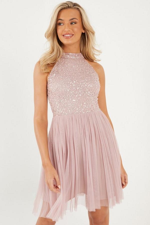 Pink Sequin Skater Dress