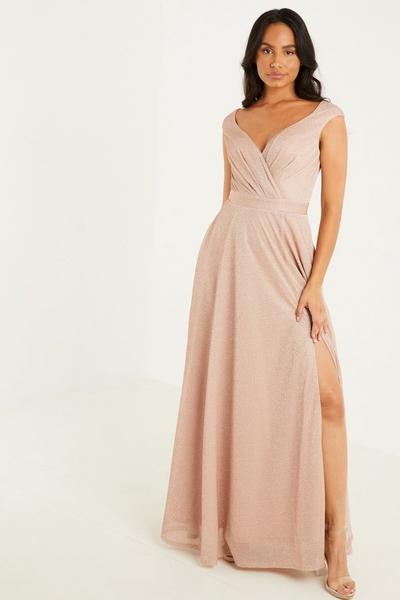 Champagne Wrap Maxi Dress
