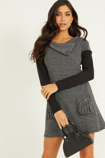 Grey Knitted Cowl Tunic Dress