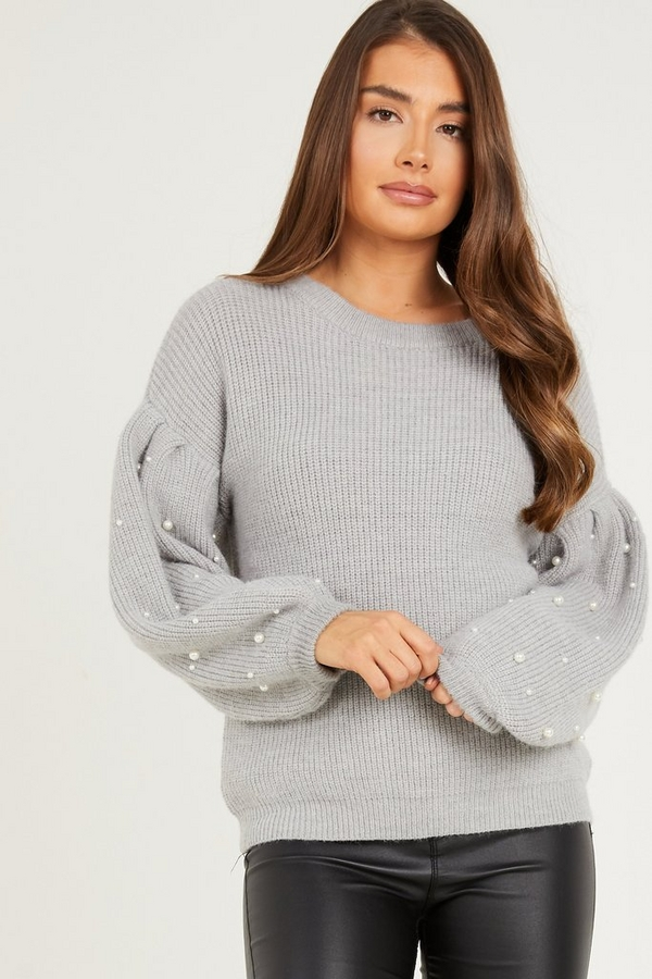 Grey Pearl Knitted Jumper