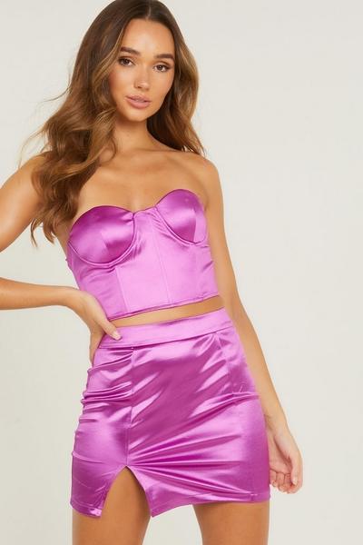 Purple Satin Mini Skirt